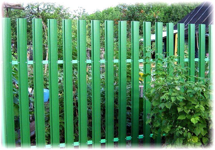 забор из профнастила на садовом участке