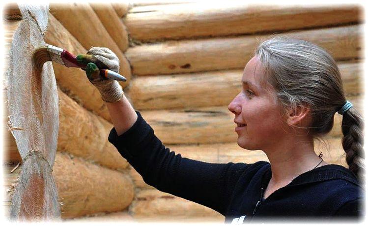 обработка деревянных стыков, торцов антисептиком